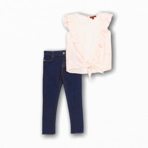 Cute Pink Ruffle Shirt Girls Outfit Set Jeans NWT